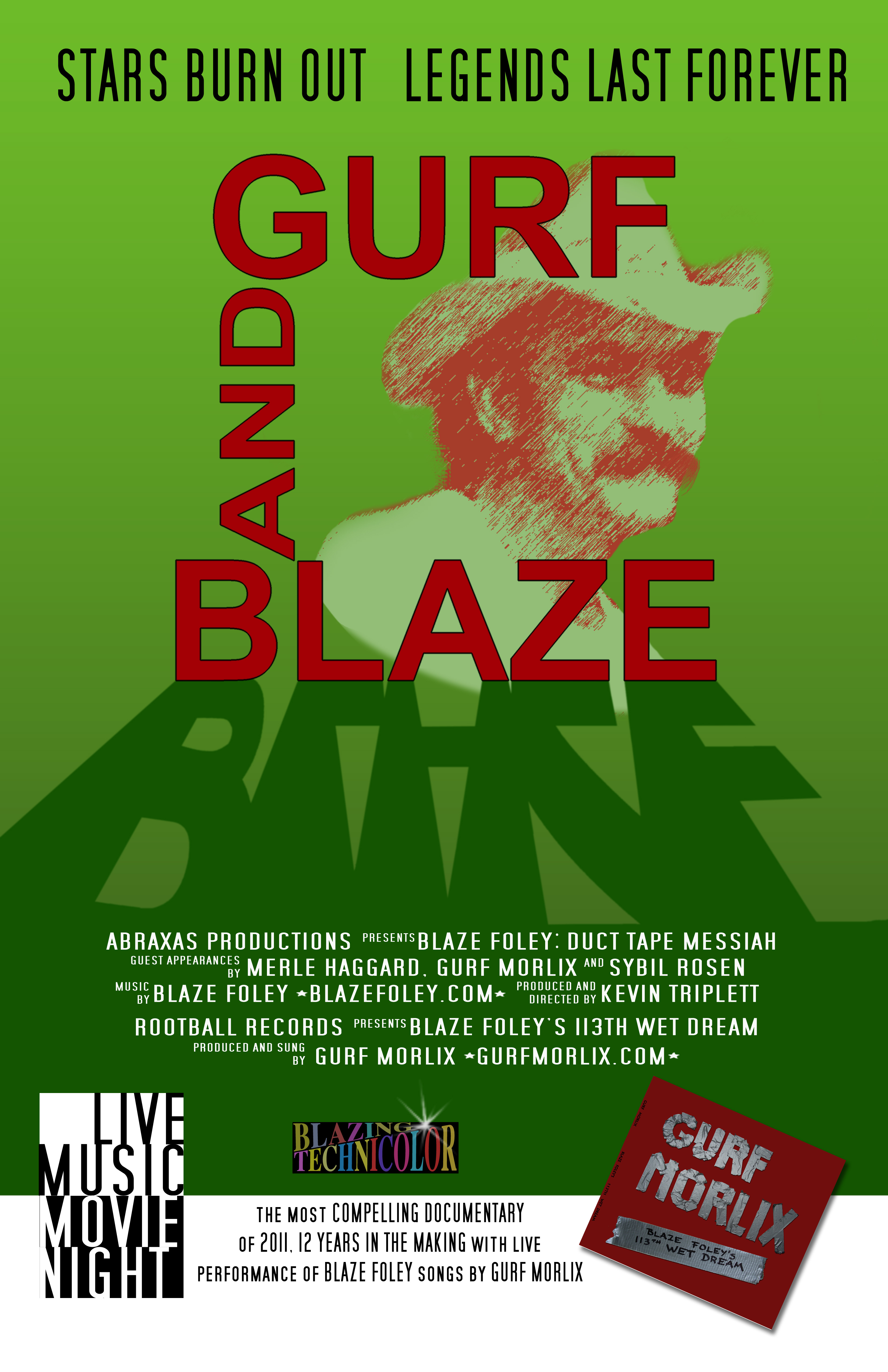 Green poster for the Gurf and Blaze event